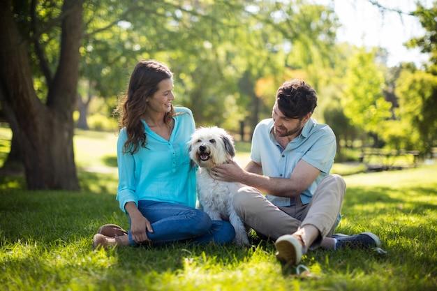 Szczęśliwa para z psem w parku
