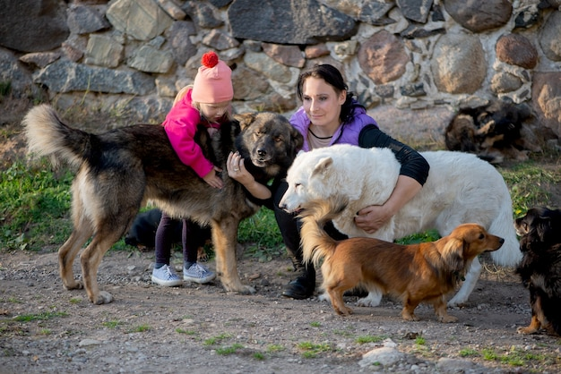 Szczęśliwa rodzina matka i córka dziewczynka zabawy z dużą ilością psów na świeżym powietrzu