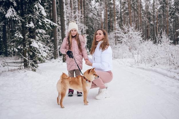 Szczęśliwa rodzina młoda matka i mała śliczna dziewczyna w różowym ciepłym stroju spacerowym, zabawy z czerwonym psem shiba inu w śnieżnobiałym zimnym lesie na zewnątrz