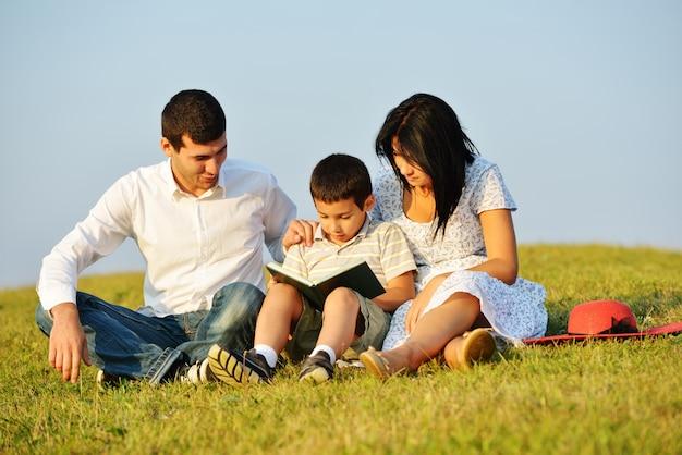 Szczęśliwa rodzina na pięknej lato łące ma szczęśliwego czasu czytelniczą książkę