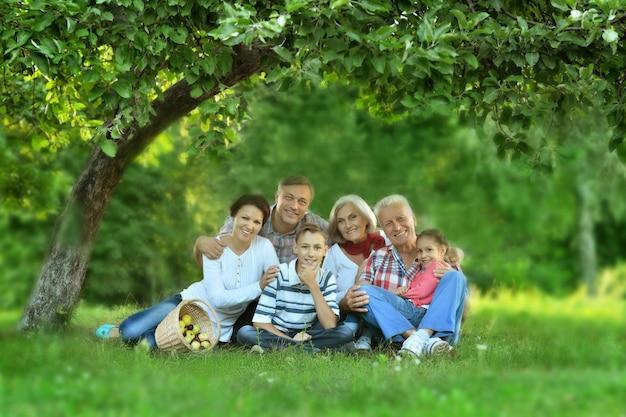 Szczęśliwa rodzina odpoczywa w letnim parku z jabłkami