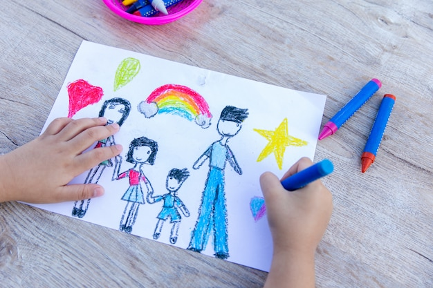 Szczęśliwa rodzina. rysunek akwareli