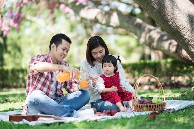 Szczęśliwa rodzina siedzi na trawie podczas pikniku w parku