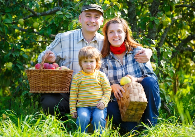 Szczęśliwa rodzina w ogrodzie zbioru jabłek