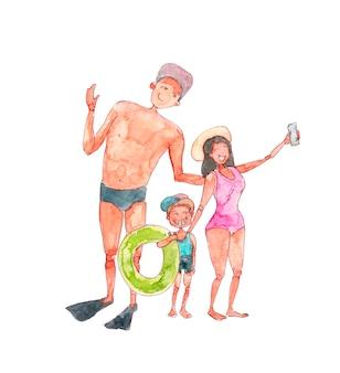 Szczęśliwa rodzina wziąć selfie na wakacje morze ilustracja