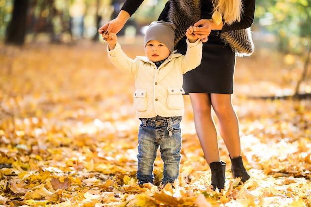 Szczęśliwa rodzina zabawy na świeżym powietrzu w jesiennym parku przed niewyraźnymi liśćmi