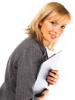 Szczęśliwa udana biznesowa kobieta. pojedynczo na białym