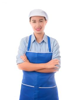 Szczęśliwa, uśmiechnięta, pozytywna kobieta kucharz, gospodyni domowa, ramię skrzyżowania gest
