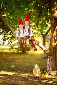 Szczęśliwe bajkowe leśne krasnale chłopcy, bracia bawią się i siedzą na drzewie w lesie