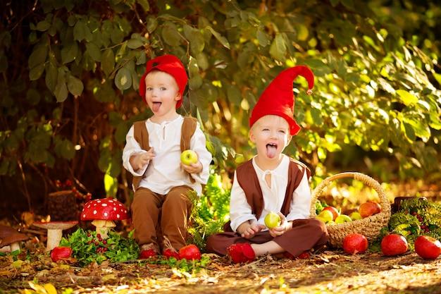 Szczęśliwe bajkowe leśne krasnale chłopcy, bracia bawią się i spacerują po lesie, zbierają jabłka