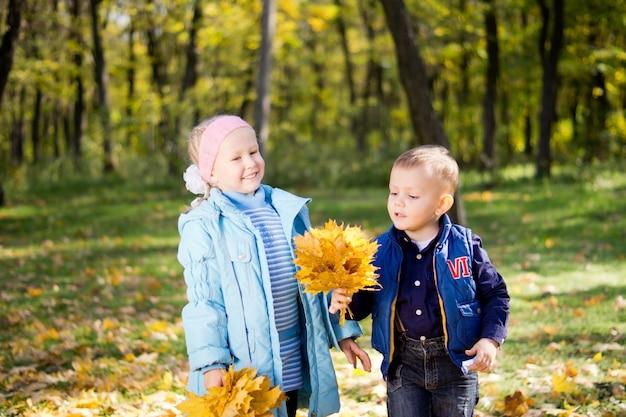 Szczęśliwe dzieci bawiące się w lesie jesienią, niosąc duże garście kolorowych żółtych liści