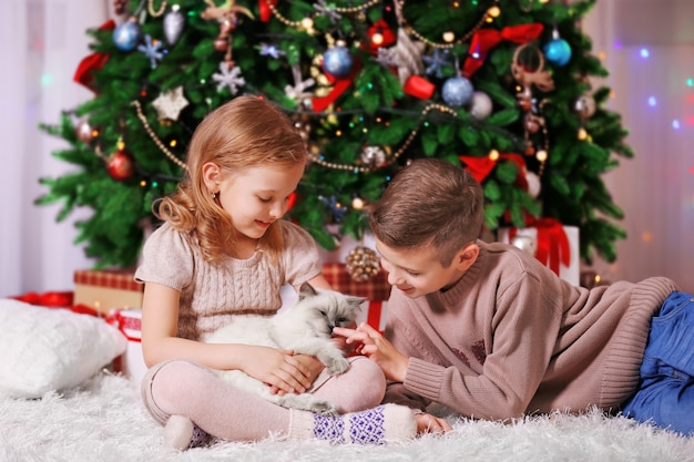 Szczęśliwe dzieci i puszysty kot w urządzonej sali bożonarodzeniowej