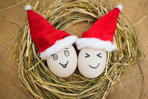 Szczęśliwe jajka na boże narodzenie.