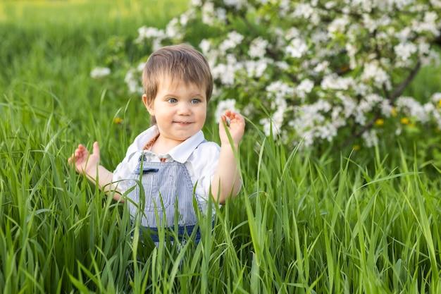 Szczęśliwe małe dziecko w modnym niebieskim kombinezonie z pięknymi niebieskimi oczami. zabawne zabawy w wysokiej zielonej trawie w kwitnącym parku pełnym zieleni