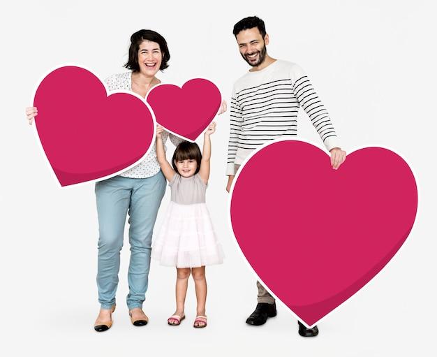 Szczęśliwe rodzinne mienia serca ikony