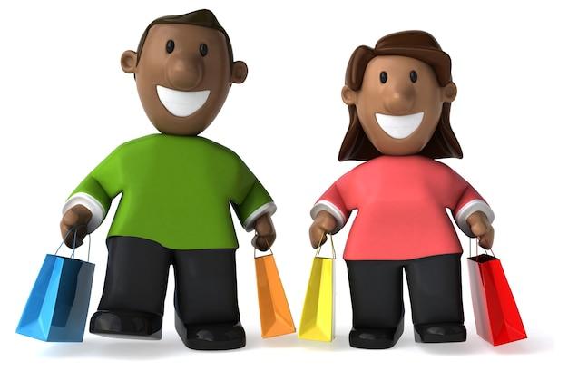 Szczęśliwe rodzinne zakupy - ilustracja 3d