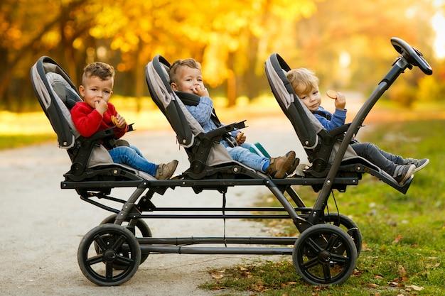Szczęśliwe trojaczki siedzą w wózku dziecięcym i jedzą ciasteczka na jesieni