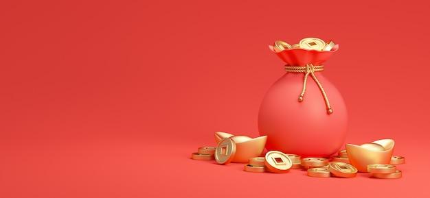 Szczęśliwego chińskiego nowego roku ozdoba z czerwoną torebką na pieniądze i chińskimi złotymi monetami