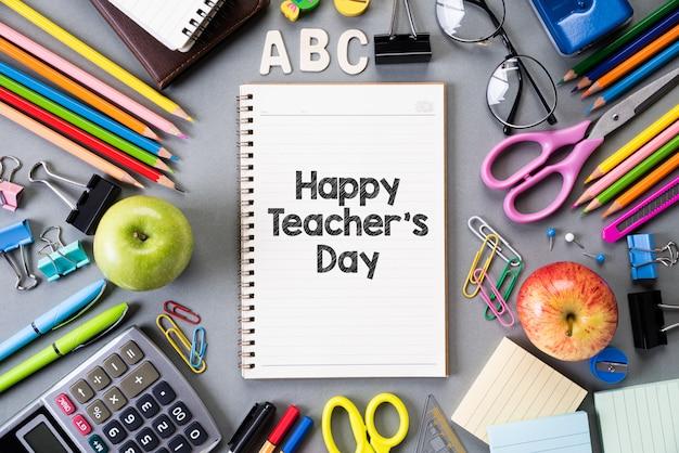 Szczęśliwego dnia nauczyciela i edukacji lub powrót do szkoły. leżał płasko.