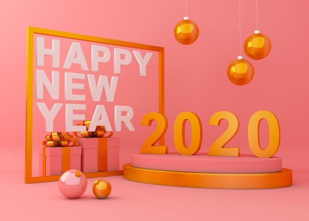 Szczęśliwego nowego roku 2020 renderingu 3d tła kreatywnie ilustracja.