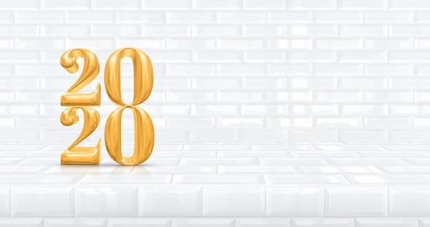 Szczęśliwego nowego roku 2020 (renderowanie 3d) w perspektywicznym białym kafelkowym stole i pokoju na ścianie, koncepcja wakacje, pozostaw miejsce na wystawę produktu do promocji reklamowej. tło wakacje