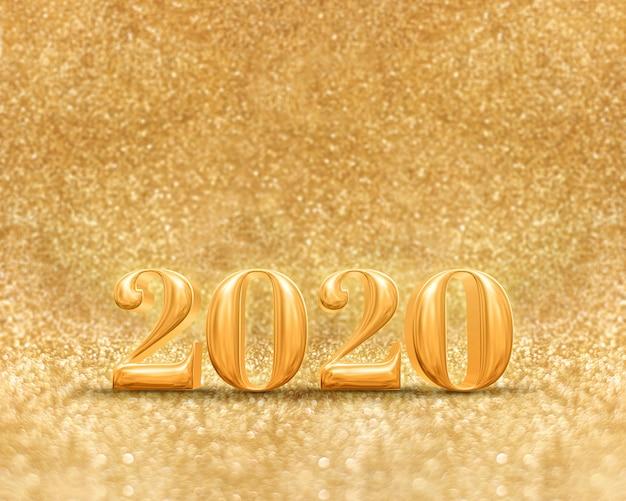 Szczęśliwego nowego roku 2020 roku w musującym złotym brokacie