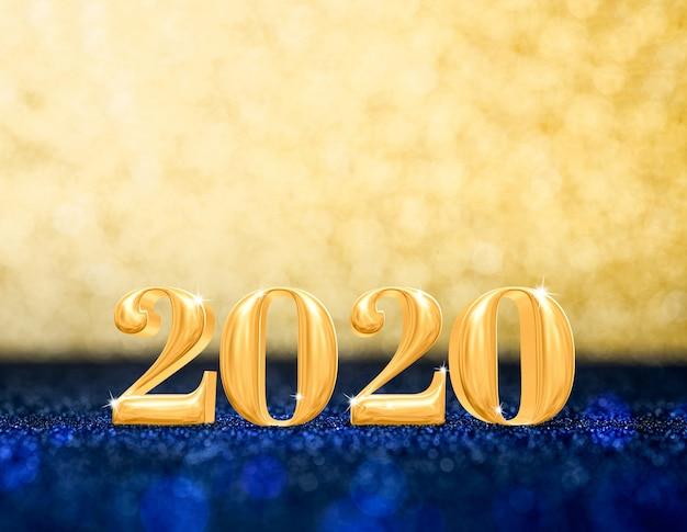 Szczęśliwego nowego roku 2020 w błyszczącym złotym i granatowym brokacie