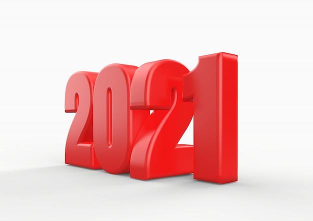 Szczęśliwego nowego roku 2021, czerwone liczby renderowania 3d z białym tłem