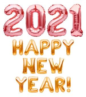Szczęśliwego nowego roku 2021 frazy wykonane z róży i złote balony nadmuchiwane na białym tle. różowe i złote balony z helem, składające się na gratulacje szczęśliwego nowego roku 2021, dekorację świąteczną.