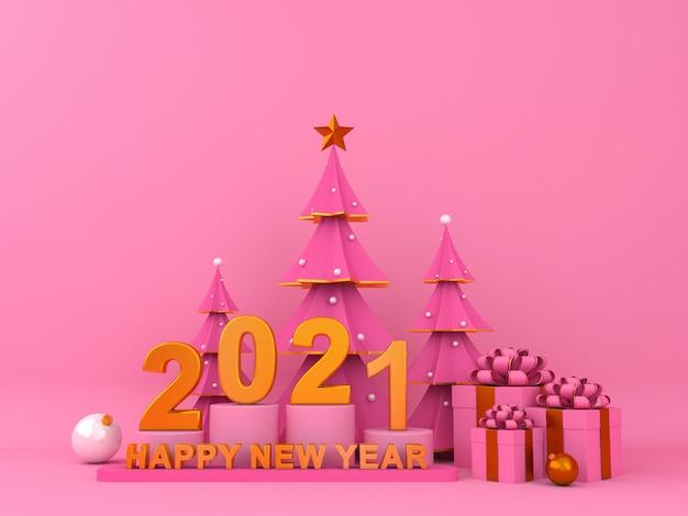 Szczęśliwego nowego roku 2021 tła renderingu 3d kreatywnie ilustracja.