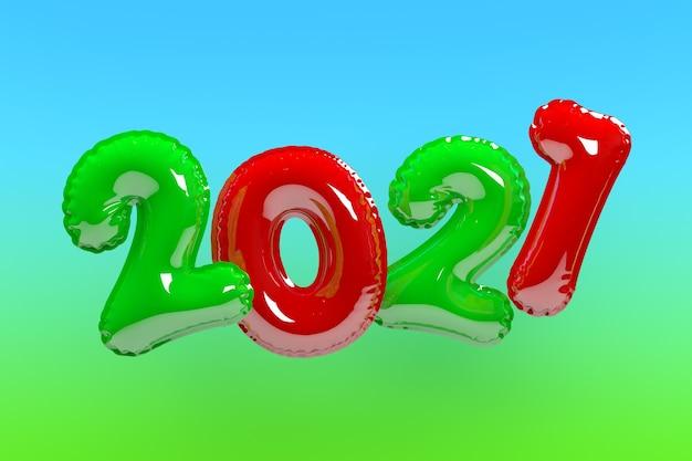 Szczęśliwego nowego roku 2021. tło realistyczne wielokolorowe balony. renderowanie 3d
