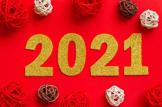 Szczęśliwego nowego roku 2021. złote numery
