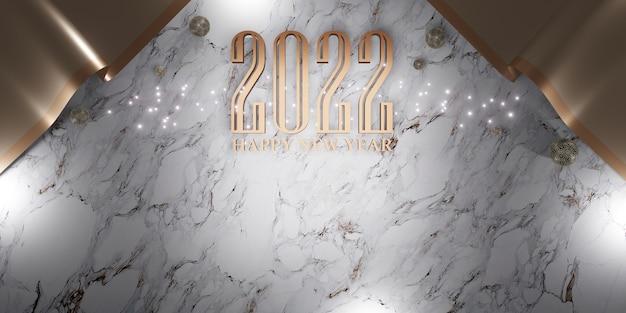 Szczęśliwego nowego roku 2022 boże narodzenie i nowy rok tło ilustracja 3d