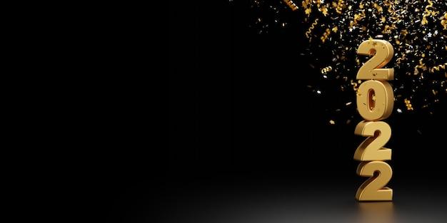 Szczęśliwego nowego roku 2022 i foliowe konfetti spadające na czarne tło renderowania 3d