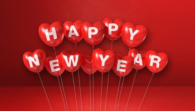 Szczęśliwego nowego roku balony kształt serca na czerwonym tle betonu. baner poziomy. renderowanie ilustracji 3d