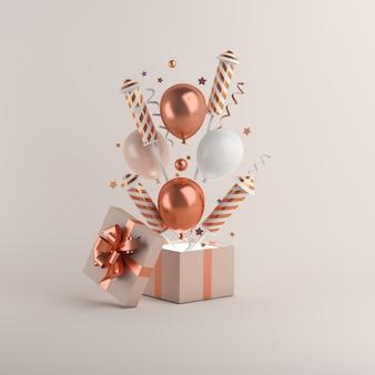 Szczęśliwego nowego roku dekoracja z rakietą fajerwerków, balonami, pudełkiem prezentowym
