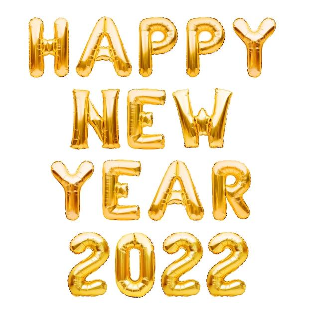 Szczęśliwego nowego roku fraza wykonana ze złotych nadmuchiwanych balonów na białym tle na białych balonach z helem tworzących szczęśliwego nowego roku folia gratulacyjna dekoracja uroczystości