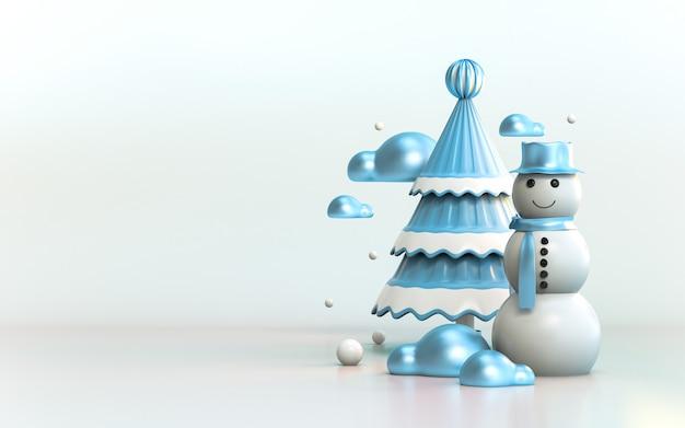 Szczęśliwego nowego roku i wesołych świąt banner na plakat nagłówek strony z życzeniami ulotki 3d render