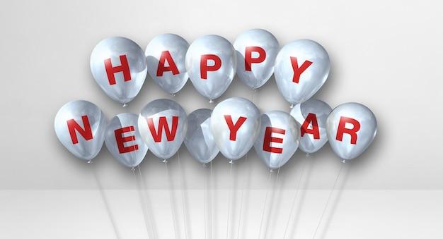 Szczęśliwego nowego roku kilka balonów na białym tle betonu. baner poziomy. renderowanie ilustracji 3d