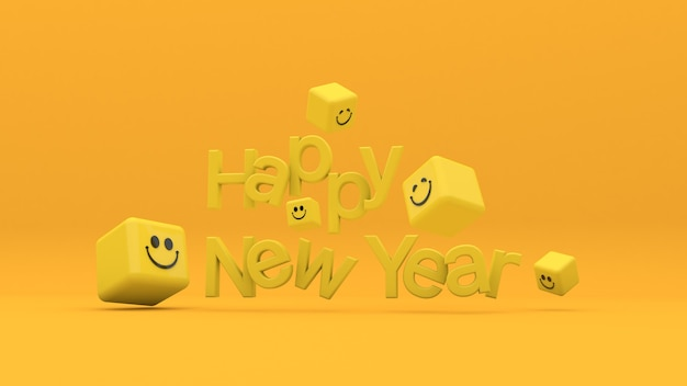 Szczęśliwego nowego roku litery i sześcian emoji uśmiechu na pomarańczowym tle renderowanie 3d ilustracja 3d