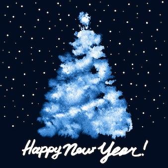 Szczęśliwego nowego roku! - malowana niebieska choinka - ilustracja rastrowa