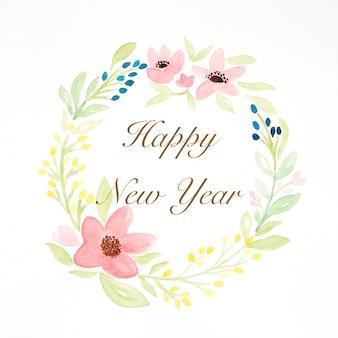 Szczęśliwego nowego roku na akwarela ręcznie malowany wieniec kwiatów na białym tle