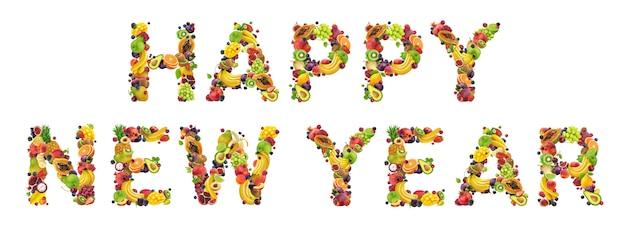 Szczęśliwego nowego roku napisane ze świeżych składników żywności