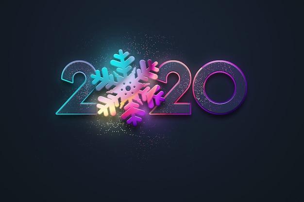 Szczęśliwego nowego roku, neonowe liczby 2020 projekt, płatek śniegu. wesołych świąt. ilustracja 3d, renderowanie 3d