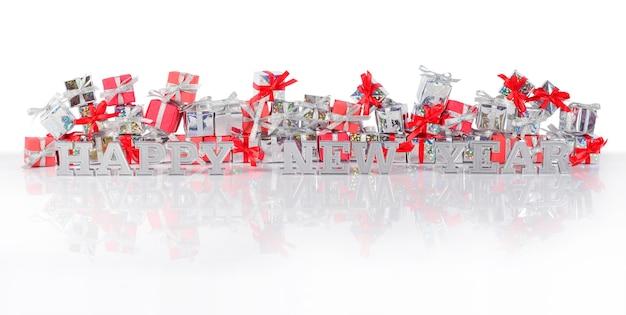 Szczęśliwego nowego roku srebrny tekst na tle prezentów