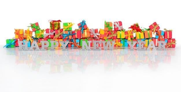 Szczęśliwego nowego roku srebrny tekst na tle różnobarwnych prezentów