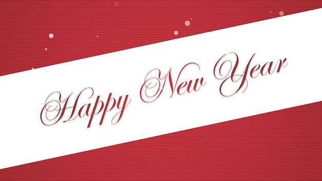 Szczęśliwego nowego roku tekst na czerwonym tle. luksusowa i elegancka dynamiczna ilustracja 3d na zimowe wakacje