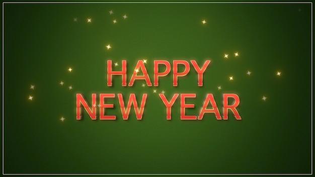 Szczęśliwego nowego roku tekst na zielonym tle. luksusowa i elegancka dynamiczna ilustracja 3d na zimowe wakacje