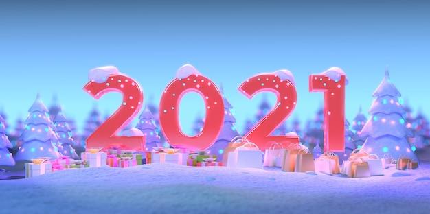 Szczęśliwego nowego roku ze śniegiem i prezentami