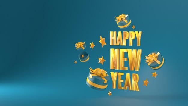 Szczęśliwego nowego roku złoty materiał list i pudełko na zielonym tle renderowania 3d 3dillustration